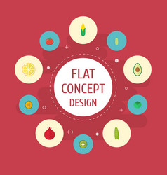 flat icons maize muskmelon love apple and other vector image