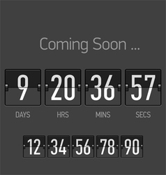 Flip Coming Soon countdown timer template vector image vector image
