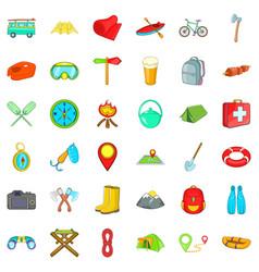 Fun camping icons set cartoon style vector