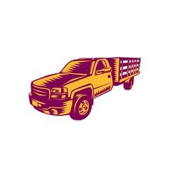 Pick-up truck woodcut vector