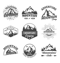 rocky winter mountains landscape as signs or icons vector image vector image