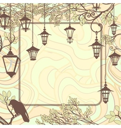 Vintage background with tree branches and retro vector image vector image