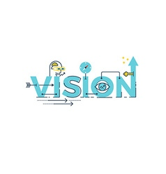 Vision word lettering vector image