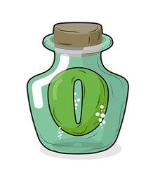 Zero in magical bottle Number 0 in bottle for vector image vector image