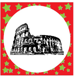 black 8-bit colosseum in rome italy vector image