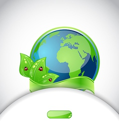 Green earth with leaves and ladybugs background vector image vector image