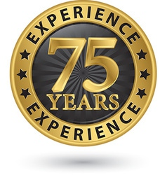 75 years experience gold label vector image vector image