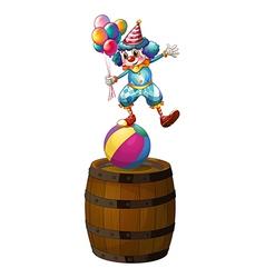 A clown above the barrel vector image vector image