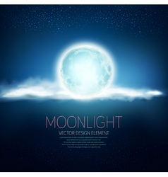 background with a full moon and clouds vector image vector image