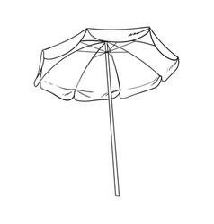 black and white open beach umbrella sketch style vector image vector image