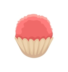 Cupcake with pink colored icing cartoon vector image