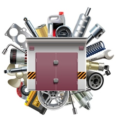 Garage with Car Spares vector image