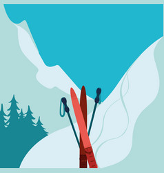 Mountains and ski equipment Winter background vector image vector image