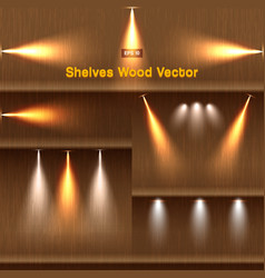 shelves wood background with lighting vector image