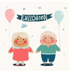 Summer Children Friends with Baloons vector image