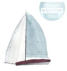 Watercolor sport yacht vector