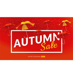 Autumn sale poster template with umbrellas vector image vector image