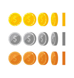 flat cartoon gold and silver coins with dollar vector image vector image