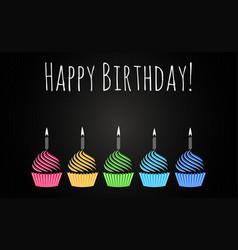 happy birthday cupcakes design background vector image