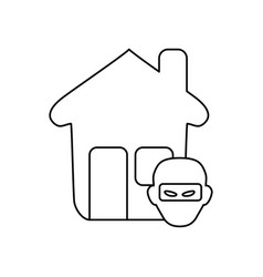 line house with thief danger symbol vector image