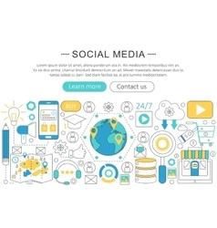 modern line flat design Social media vector image