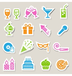 Party and Celebration icon set vector image