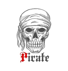Pirate sailor skull in bandana sketch symbol vector image vector image