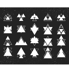 Set of white geometric shapes triangles lines for vector image vector image
