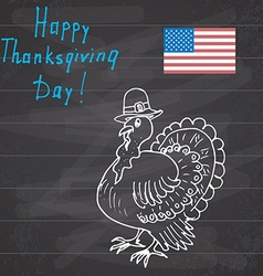 Thanksgiving day sketch doodle turkey in pilgrims vector image