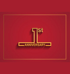 1 anniversary design with simple line style vector