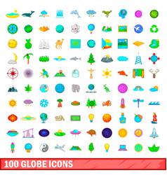 100 globe icons set cartoon style vector