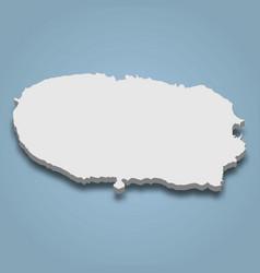 3d isometric map terceira is an island vector