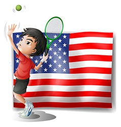 A tennis athlete and the USA flag vector image