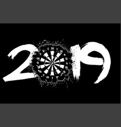 Abstract number 2019 and a dartboard from blots vector