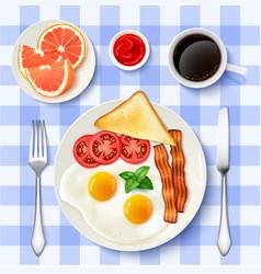 American full breakfast top view image vector