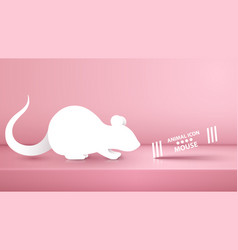 Animal rat mouse on the pink studio vector