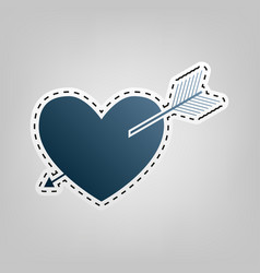 arrow heart sign blue icon with outline vector image
