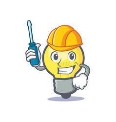 automotive light bulb character cartoon vector image