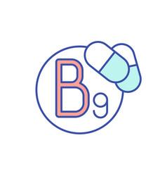 B9 vitamin rgb color icon vector