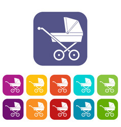 Baby carriage icons set vector