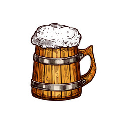 beer wooden mug isolated sketch design vector image
