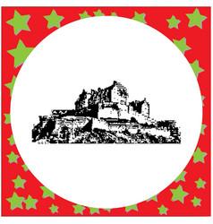 Black 8-bit edinburgh castle vector