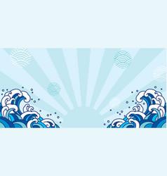 blue oriental wave japan asian vector image