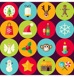 Brown Flat Merry Christmas Seamless Pattern Set vector image