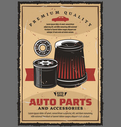 car parts and accessories retro poster vector image