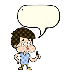 cartoon boy giving thumbs up with speech bubble vector image