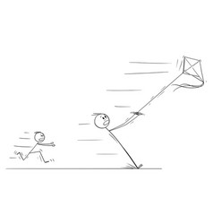 cartoon father flying kite and pulled away in vector image
