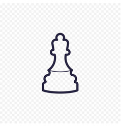 Chess line icon game chess figure thin linear vector