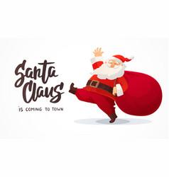 Christmas card funny cartoon santa claus with vector