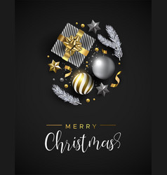 christmas card of gift and winter xmas ornaments vector image
